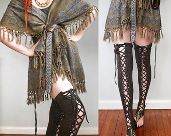 Leg Warmers, Steampunk leggings, Viking thigh highs, post apocalyptic Burning Man clothing, cotton lycra yoga dance legwarmers, Wasteland