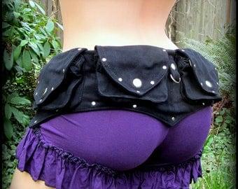 Festival Belt Bag ~ Utility Belt in Black Vegan Canvas w/ Silver, Pocket Belt ~ Burning Man style fanny pack, Hip bag, holster bag, Batman
