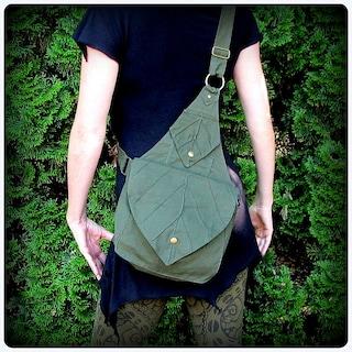 Leaf Bag Backpack Book Messenger Purse ~ Green Brown Black Canvas ~ Elven Forest  LARP Legend of Zelda Link Elf Garb  Yule