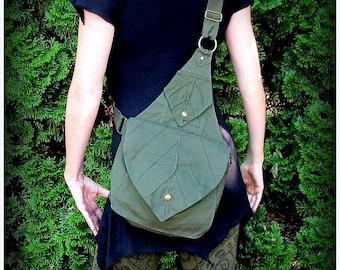 Leaf Bag Backpack Book Messenger Purse ~ Green Brown Black Canvas ~ Elven Forest  LARP Legend of Zelda Link Elf Garb Yule, cottagecore purse