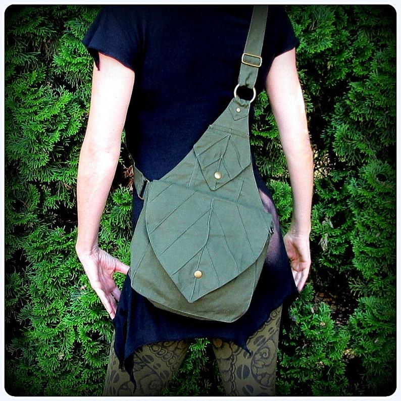 Leaf Bag Backpack Book Messenger Purse  Green Brown Black image 0