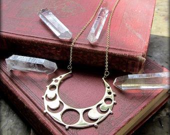 Moon Phase Necklace gold brass ~ crescent moon pendant ~ Occult Jewelry, Wiccan Pagan Moon Goddess Necklace, Witchcraft, Sacred Belly Dance