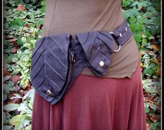 Leaf Pocket Belt Bag ~ Black Waist Bag ~ Burning Man Utility Belt ~ Black Canvas Vegan Fabric ~ Festival Belt, ~ Fits Small to Extra Large