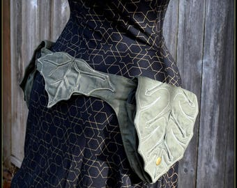 Utility Belt Bag, Hip Belt Pouch, Ren Faire Pocket Belt, Fantasy Clothing, Elven Pixie Cosplay Vegan Cotton, Leaf, Renaissance Festival Belt