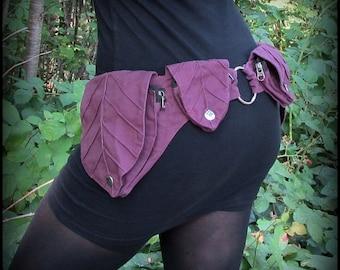 Purple Utility Belt Bag ~ Leaf Pocket Belt, Burning Man Hip Bag, Pixie Fairy Belt, Cosplay Fantasy Clothing, Renaissance Festival Belt Pouch
