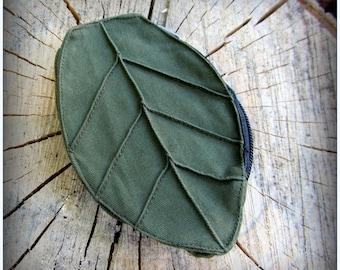Leaf Pouch Wallet fits on Utility Belt Bag ~ Green Brown Black or Purple Canvas ~ Zelda Cosplay, Forest fantasy wedding favor