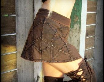 Steampunk skirt, Burning Man mini skirt, post apocalyptic festival clothing, Wasteland Weekend, roller derby, cyberpunk miniskirt