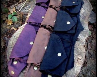 Small Steampunk Utility Belt Bag ~ Pocket Belt Burning Man Festival Belt Fanny Pack ~ vegan canvas ~ black, brown, purple, hooping hip belt