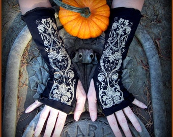 Witchy Black Arm Warmers ~ Fingerless Gloves Gauntlets ~ Dark Fashion Occult Gothic Art Nouveau Print ~ Yoga Hooping