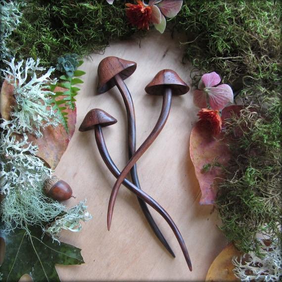 Fairy Hair stick ~ carved wood mushroom ~ toadstool hair fork ~ dark mori forest girl ~ nature girl, woodland Witch ~ Talismana Designs