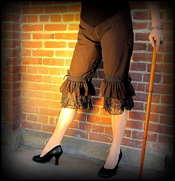 Steampunk Women's Pants, Leggings & Bloomers Steampunk Clothing Pirate Pants ~ Brown Stripe Black Lace Ruffle Capri Bloomers ~ Burning Man Clothing Victorian Costume Cosplay Belly Dance $46.00 AT vintagedancer.com