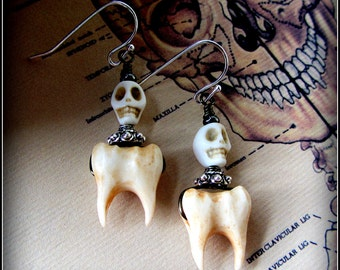 Teeth Earrings ~ Human Molars w/ Skulls ~ Creepy Oddities carved from bone ~ macabre taxidermy jewelry cabinet of curiosities dentist goth