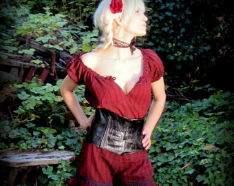 Steampunk Peasant Blouse Westworld Costume ~ Pirate Shirt ~ Striped Renaissance Gypsy Victorian Cosplay ~  Red Black Steampunk clothing