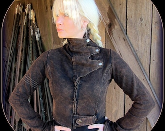 Steampunk Coat ~ Post Apocalyptic clothing, Burning Man Cropped Jacket w/ Brass ~ Festival style,  Airship Pirate Mad Max Wasteland Weekend