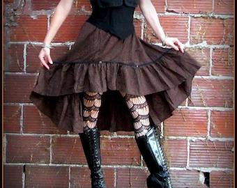 Steampunk Skirt ~ Brown Striped Pirate Skirt ~ Victorian Bustle Skirt ~ Steampunk clothing Renaissance Costume Cosplay Garb fits S ~ XL
