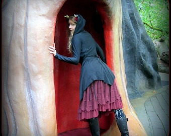 Hooded Wrap Cloak Black ~ Witchy Cardigan Thumb Hole ~ Occult Clothing Dress Jacket Layering Pointy Hem Dark Mori Witchcraft Robe