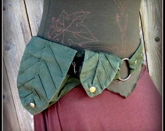 Utility Belt ~ Leaf Pocket Belt, Hip Belt, Legend of Zelda Green Festival Belt Bag, fairy belt, ren faire Garb ~ vegan canvas fabric hip bag