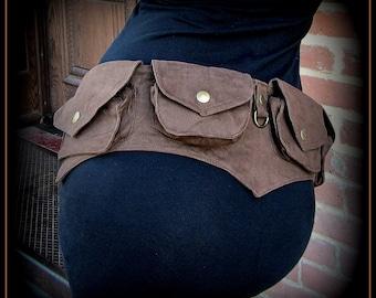 Festival pocket belt bag ~ vegan canvas utility belt w/ pockets ~ steampunk brown, black, purple ~ hip belt, hip bag ~ Batman cosplay