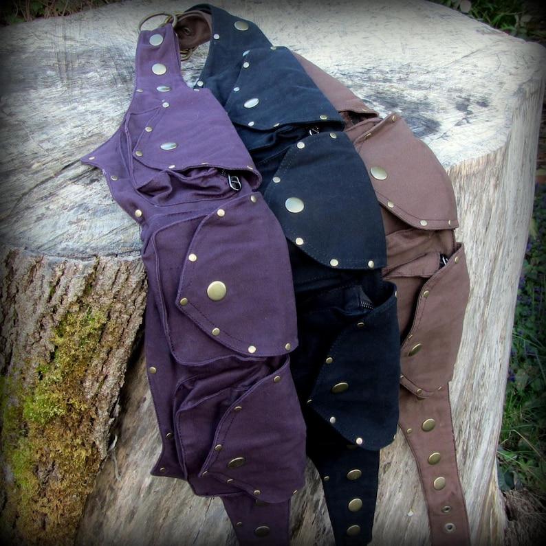 brown purple Small Steampunk Utility Belt Bag ~ Pocket Belt Burning Man Festival Belt Fanny Pack ~ vegan canvas ~ black hooping hip belt