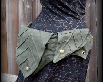 Festival belt bag, Elven leaf utility belt, hip belt, pixie belt, festival fanny pack, vegan canvas Zelda, Ren Fair, Renaissance Festival