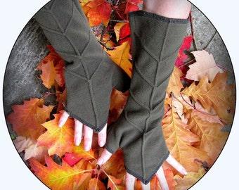 arm warmers fingerless gloves ~ Legend of Zelda Leaf Gloves ~ Pixie Fairy Festival Hooping Clothing ~ khaki green, black, teal, gray, purple