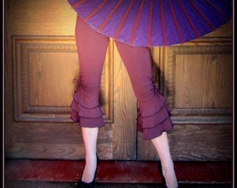 Ruffle Capri Pants Bloomers ~ Steampunk Belly Dance Burning Man Festival Clothing ~ Tango Dance Pants ~ Hooping Yoga Wear 3 colors