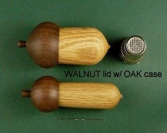 Acorn Needle Case and Acorn Thimble Case Set. Walnut Lid and Oak Case.