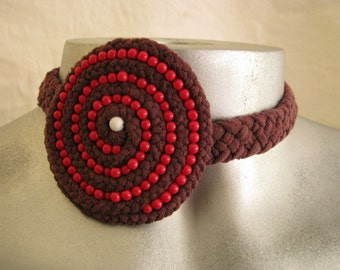 Choker necklace in purple and red with white accent in eco-friendly reused materials