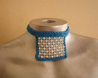 Blue bib necklace with vintage glass beads - all reused materials