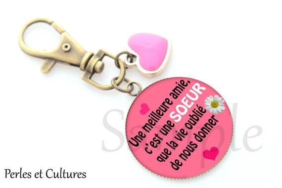 Porte-clés amie cœur rose cabochon cadeau pour une amie   Etsy 603243918e5