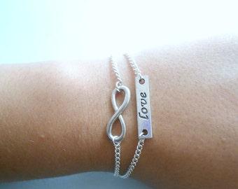 infinity love bracelet - love infini bracelet - infinity symbol - infinite love bracelet - silver love infinite bracelet