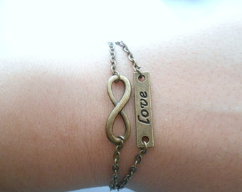 infinity love bracelet - love infinity bracelet - infinity symbol - infinite love bracelet - love infinite bracelet- infinity love