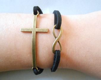 cross infinity bracelet, infinity bracelet, cross bracelet, charm bracelet, cross pendant, infinity pendant, infinity charm, suede