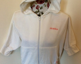 Vintage white Fred Perry cropped sleeved hoody