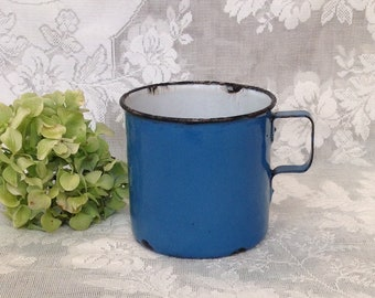 22317a4a87a Antique enamelware mug coffee cup French blue graniteware enameled metal  rustic farmhouse country kitchen cottage style drinkware