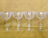 Set of 4 Libbey Rock Sharpe Crystal champagne coup tall sherbet pattern 2018-5 polished cut glass stemware wedding entertaining fine dining