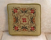 Square needlepoint and velvet decorative pillow zippered fiber filled stylized floral green gold coral retro chic cottage style home decor