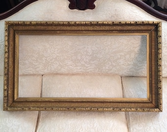 Large Antique Frame Wooden Gold Gesso And Wood For Painting Mirror Or  Chalkboard Ornate Victorian Farmhouse Cottage Style Wall Home Decor