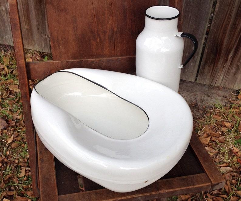 Porcelain enameled metal bedpan and urinal set white enamelware hospital medical artifact kitsch mid century planter vase home garden decor