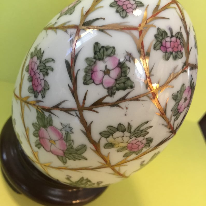 Chinese porcelain egg with stand hand painted pink flowers and gold vines decorative figurine shelf filler Asian bohemian boho home deco