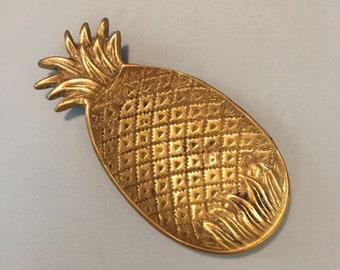Brass pineapple trinket dish small tray key holder boho tropical southern hospitality home decor