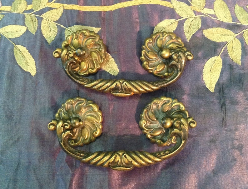 Pair brass drawer handle bail pull and posts ornate restoration furniture  hardware French Victorian romantic cottage style home decor