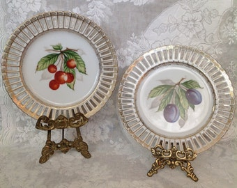 Pair Occupied Japan Ucago decorative plates china porcelain fruit cherries plums pierced reticulated edge border cottage chic home decor