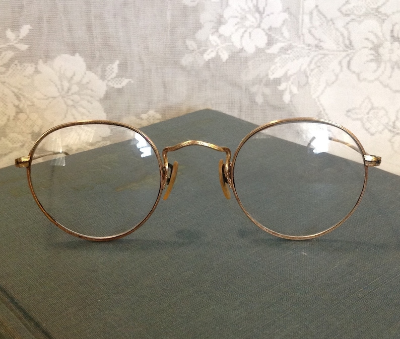 1940's B & L Ful-vue 12k gold filled round wire rim eyeglasses Bausch Lomb eye wear glasses eyewear spectacles Steampunk hipster accessory