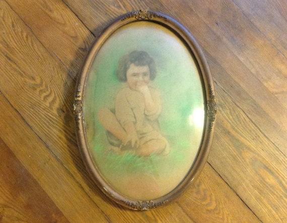 Antique Portrait Picture Frame Convex Bubble Glass Oval Ornate Etsy