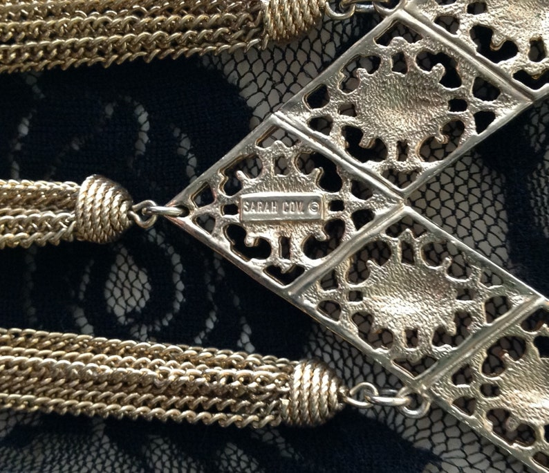 Sarah Coventry designer tassel necklace multi-chain ornate gold tone pendant bohemian boho chic gypsy costume jewelry