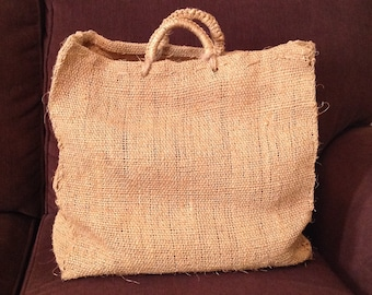 Large vintage jute burlap tote bag cloth carry-all shopping bag natural eco friendly retro chic hippie boho chic fashion accessory