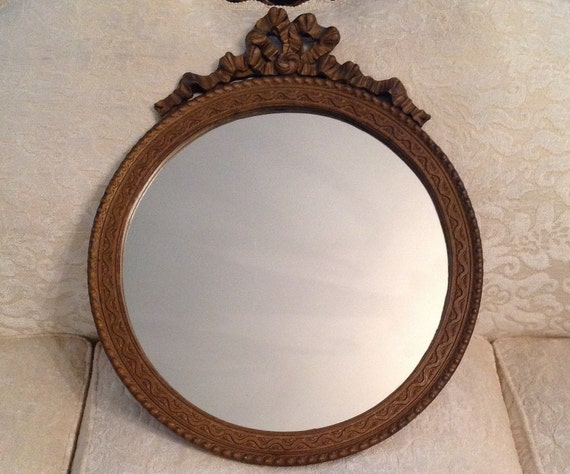 Antique Round Barbola Wall Mirror Gold Wood Frame Carved