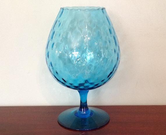 Italian Empoli Art Glass Large Brandy Snifter Vase Pedestal Etsy