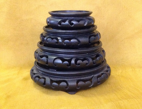 Collection Of 4 Asian Stands Pedestals Black Carved Wood Etsy